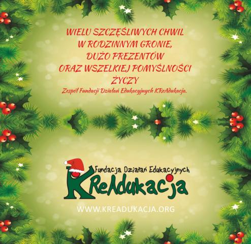 Fundacja KReAdukacja, życzenia, Boże Narodzenie, świąteczne życzenia 2014