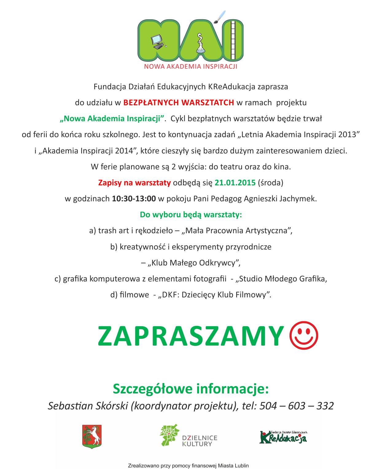 rekrutacja uczestników, Szkoła Podstawowa nr 20 w Lublinie, Fundacja KReAdukacja-Informacja dla rodziców2015