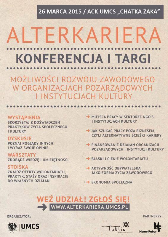 AlterKariera-targi konferencje UMCS ACK Chatka Żaka Lublin 26 marca 2015 Fundacja KReAdukacja.AlterKariera, 2015, Fundacja KReAdukacja, UMCS, ACK Chatka Żaka, targi, konferencje, NGO, możliwości rozwoju zawodowego, praca w organizacjach pozarządowych, praca w instytucjach kultury