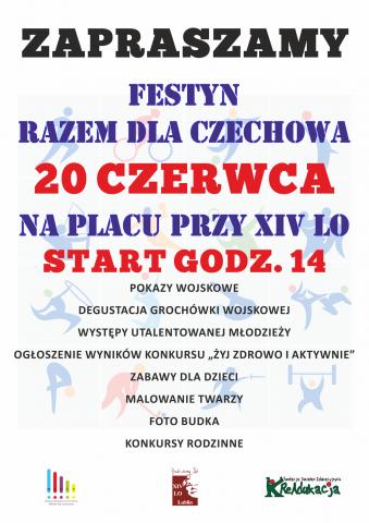 Fundacja KReAdukacja-Młodzieżowa Rada Dzielnicy Czechów Południowy-Rrazem dla Czechowa-festyn,Fundacja KReAdukacja, MRD Czechów Południowy, Młodzieżowa Rada Dzielnicy Czechów Południowy, plakat festynu, festyn, Razem dla Czechowa, 14 LO w Lublinie, młodzież, impreza, gry i zabawy dla dzieci, pokazy taneczne, pokazy wojskowe