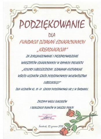 Fundacja KReAdukacja-projekt Kolory Lubelszczyzny-podziękowanie SP nr 5 w Świdniku,podziękowanie, Kolory Lubelszczyzny, Szkoła Podstawowa nr 5 w Świdniku, warsztaty dla dzieci, Fundacja KReAdukacja, Lublin, Świdnik